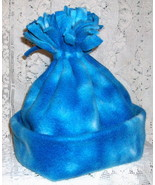 Fleece Blue & White Tie Dye Stocking Cap   Hand Crafted  NEW Winter Hat  - $4.25