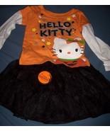 Hello Kitty Halloween Shirt & Tutu Skirt SZ 3T NEW Two Piece Oufit Glitt... - $20.00