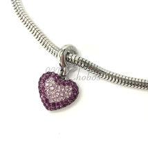 Swarovski European Hang Bracelet Charm Stainless Steel BeCharmed Pave Crystal image 5