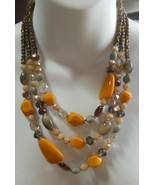 """Vintage Triple Strand Glass Bead Necklace Greys/Brown Colors 20.5"""" - $45.00"""