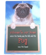 3D PUG WELCOME SIGN STUNNING EYE CATCHING 23CM X 15CM DURABLE DOG SIGN - $5.18
