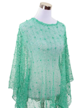 Mint Nubby Open Weave Sequin Slipover Poncho Top - Also in Teal, Ivory &... - $22.90