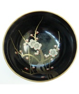 vintage black lacquer Japan bowl occupied cherries - $9.99