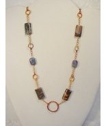 Necklace of Torch Shimmered Copper, Blue Rhyolite and Ruby i - $80.00