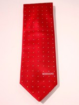 MISSONI ITALY Red Dotted Print DRESS TIE Cravatte 100% SILK Logo BRANDED - $70.09