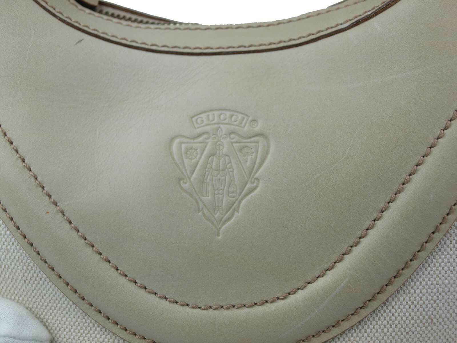 Authentic GUCCI Canvas Leather Ivory Shoulder Bag GS17614L