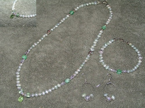 3pc Freshwater Green Pearl Set Free shipping