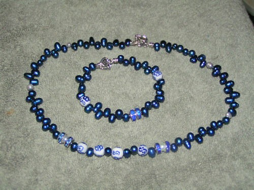 Dark Blue  2pc Freshwater Pearl Set Free Shipping