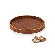 Wooden Walnut Serving Tray Carry Drinks Appetizers Host Party Natural Du... - $29.99