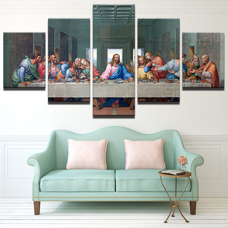 5 Pcs Christian The Last Supper Jesus Canvas Prints Painting Wall Art Home Décor for sale  USA