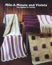 Crochet Pattern Leaflet MILE A MINUTE & VIOLETS! 5 Quick Crochet Afghans... - $4.99