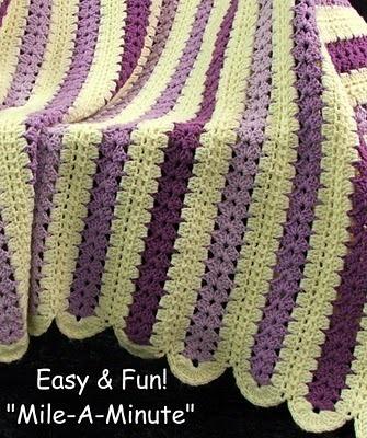 Crochet Pattern Leaflet MILE A MINUTE & VIOLETS! 5 Quick Crochet Afghans LOOK!