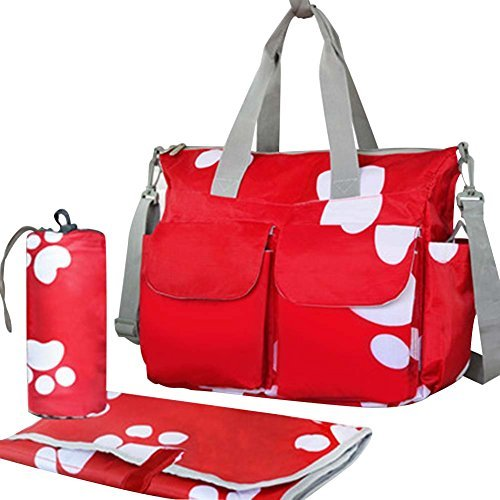Waterproof High Capacity Baby Bottle Tote Bag Single-Shoulder Bag Set, Red Footp