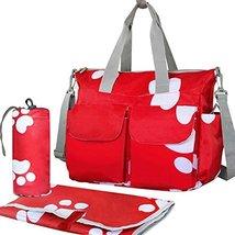 Waterproof High Capacity Baby Bottle Tote Bag Single-Shoulder Bag Set, Red Footp