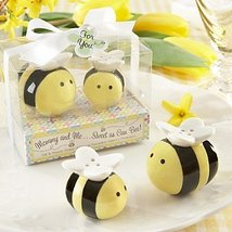 MU Mommy and Me Sweet as Can Bee Ceramic Honeybee Salt and Pepper Shakers - $21.54