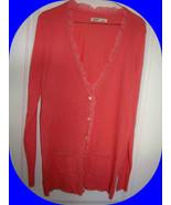 WOMAN OLD NAVY LONG Tunic BOYFRIEND CARTIGAN CORAL RUFFLE LG - $19.99
