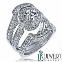 3.02 ct E/VS 100% Natural Round Cut Diamond Engagement Wedding Ring Set 18k Gold - $8,008.11