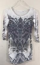 Ed Hardy Women Tattoo Print T Shirt OffWhite Large Short Sleeve - $23.96