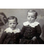Antique Photograph Two Small Boys with Knitted Collars - $15.00