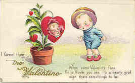 Dear Valentine 1919 Vintage Post Card - $5.00