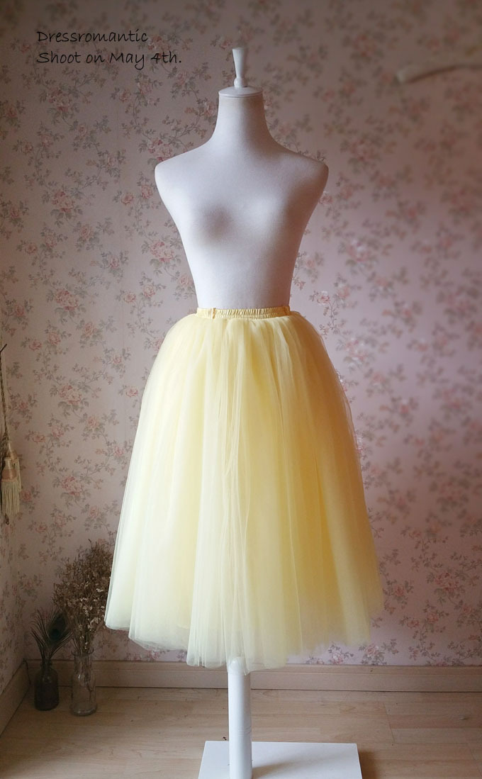 YELLOW Tulle Midi Skirt Yellow 4-layer Midi Tulle Skirt Plus Size Adult Tutus