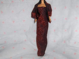 Red Glitter Gown and Shrug Handmade fits Barbie and other Fashion Dolls  - $10.95