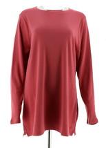 Isaac Mizrahi Essentials Long Slv Knit Tunic Desert Rose XXS NEW A256464 - $19.78