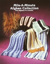 Crochet Pattern Leaflet MILE A MINUTE AFGHAN COLLECTION! 5 Quick & Easy ... - $4.99