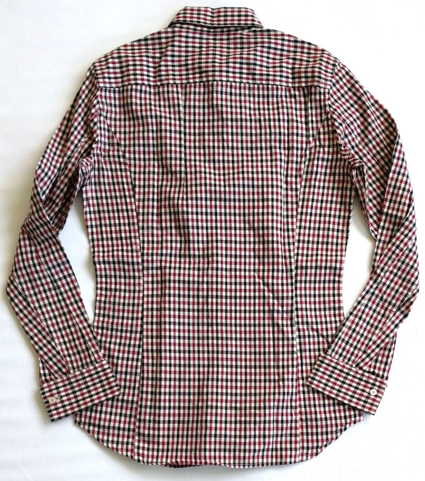 NWOT DIESEL Womens Ruffle Check Fitted Shirt S Cotton Burgundy Black Beige