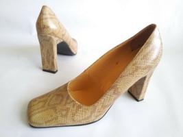 BCBG PARIS Slip On Wide Heel Pumps Beige-Tan Snake Embossed Leather Womens SZ 7 - $34.65