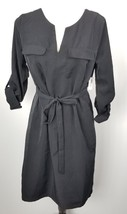 NWT Old Navy Tie Waist Dress M Black Tab Sleeves - $26.72