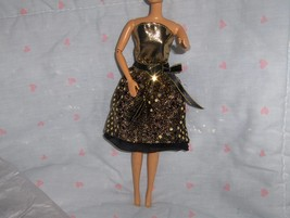 Gold Lame and Gold Glitter Dot Cocktail Dress fits Barbie and other Fash... - $5.95