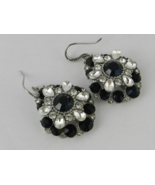 Charter Club Silver Tone Black and Clear Crystal Earrings - New - $24.75