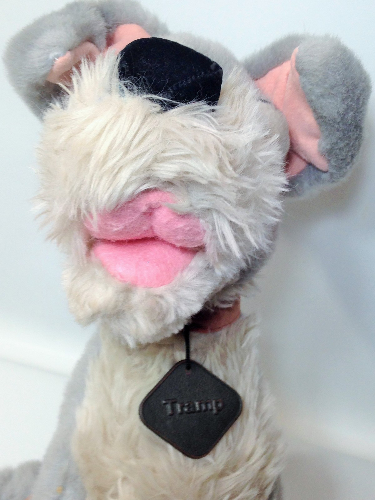"Vintage Disney Tramp Plush Dog Grey Stuffed Animal Metal DogTag 14"" image 11"