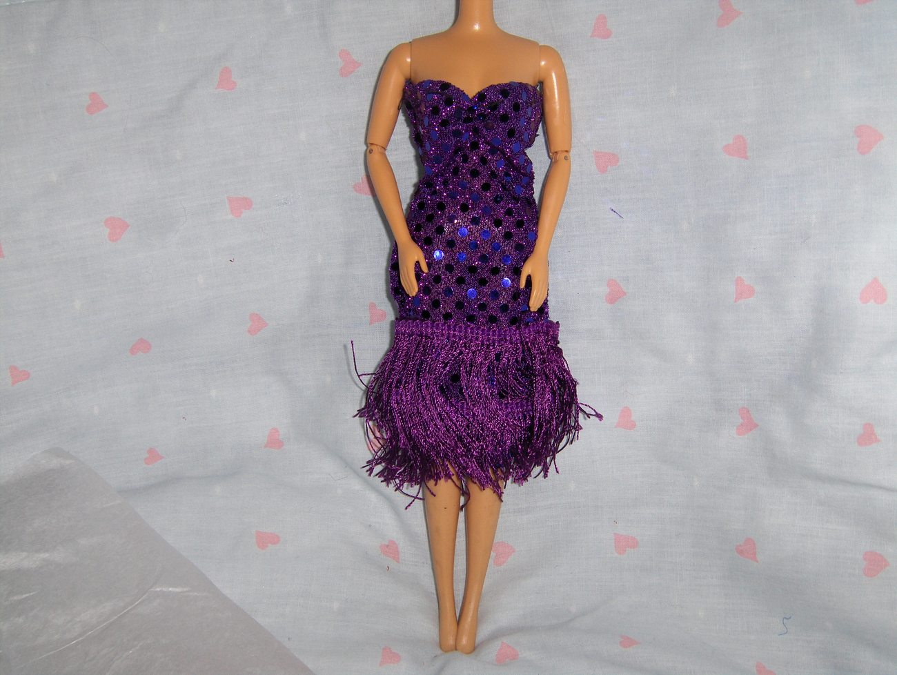 Purple Glitter Dot Fringe Roaring 20's Dress fits Barbie and most Fashion Dolls