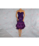 Purple Glitter Dot Fringe Roaring 20's Dress fits Barbie and most Fashio... - $5.95