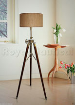 Tripod Floor Lamp Light Home Decor Nautical Antique Finish Wooden Vintag... - $115.00