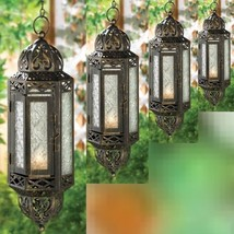 4 Large Rustic Lantern Black Candleholder Wedding Hanging Decor - $59.27