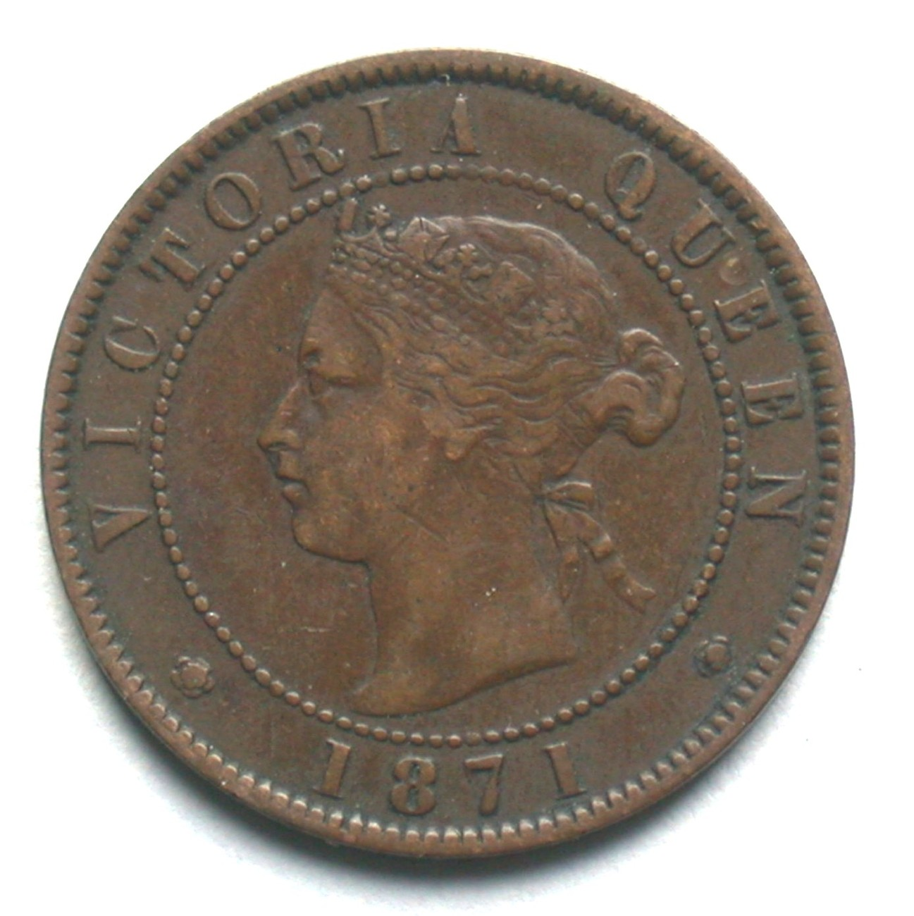 1871 Prince Edward Island One Cent Coin Queen Victoria 1 PEI