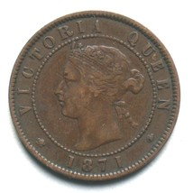 1871 Prince Edward Island One Cent Coin Queen Victoria 1 PEI image 1