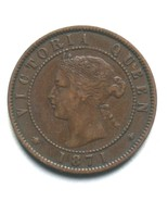 1871 Prince Edward Island One Cent Coin Queen Victoria 1 PEI - €13,04 EUR