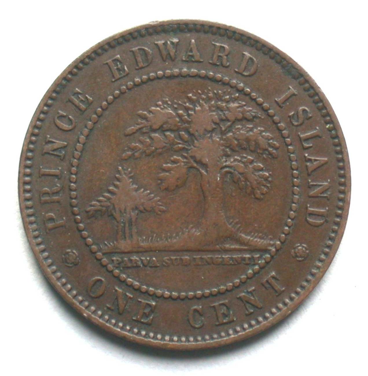 1871 Prince Edward Island One Cent Coin Queen Victoria 1 PEI image 2