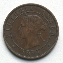 1871 Prince Edward Island One Cent Coin Queen Victoria 1 PEI image 3