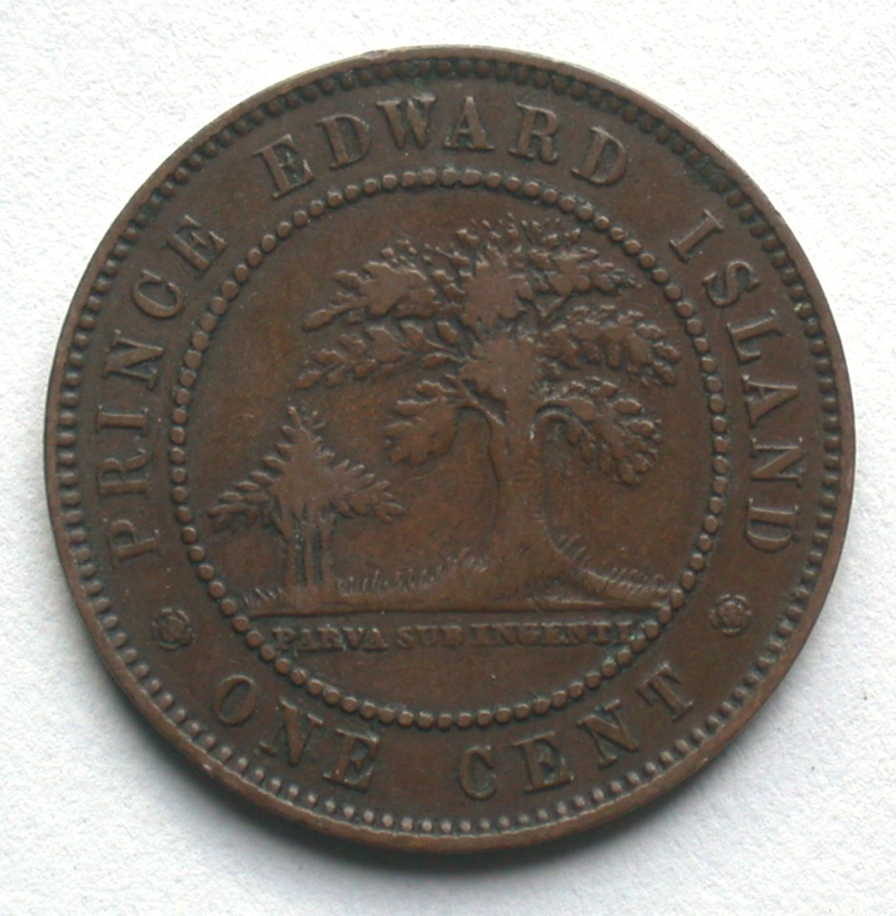 1871 Prince Edward Island One Cent Coin Queen Victoria 1 PEI image 4