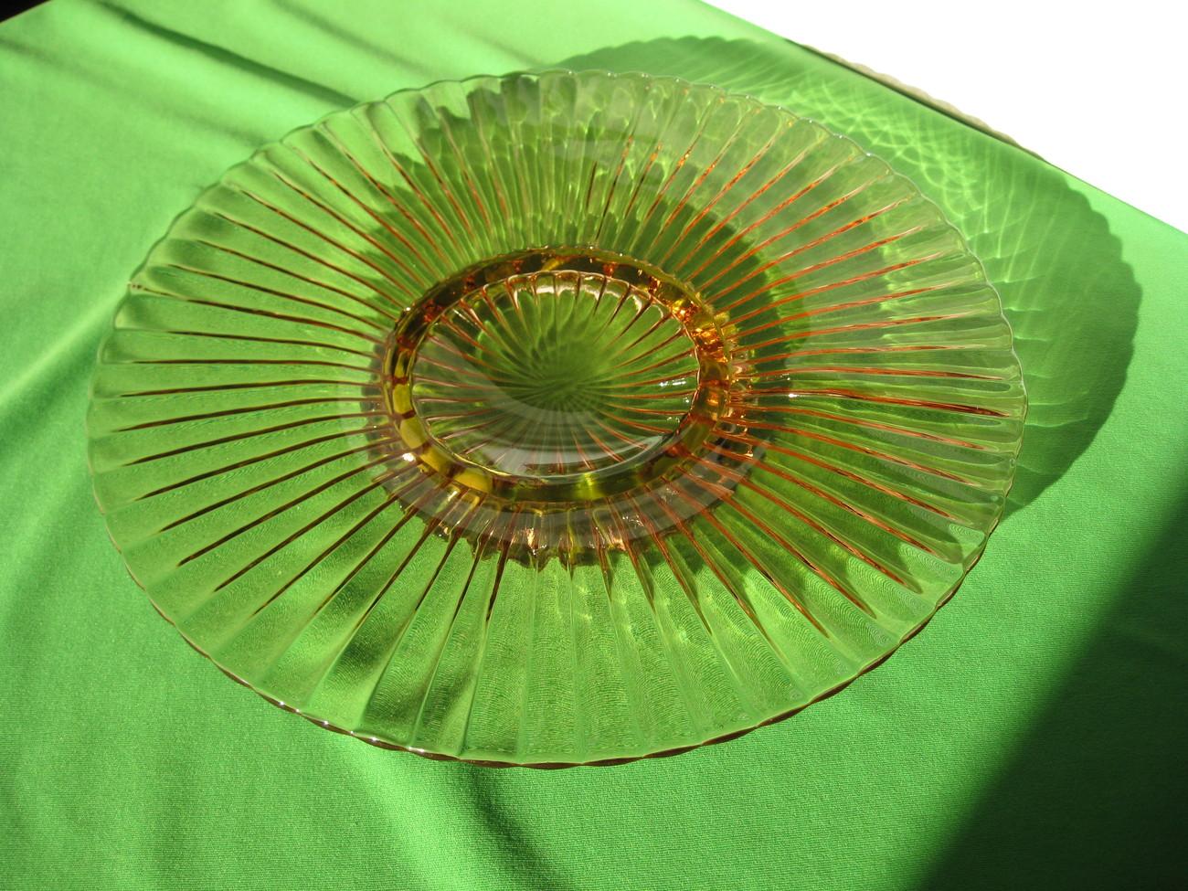 "Vintage Hocking Depression Glass Pink  12 1/4"" Sandwich Platter, Tidbit Tray USA"