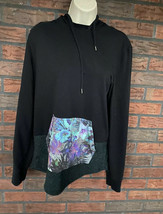 Black Hoodie Medium Hawaiian Like Flower Kangaroo Pocket Long Sleeve Swe... - $14.70