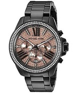 Michael Kors MK5879 Wren Black Rose Chronograph Women Glitz LUXURY Wrist Watch - $160.00