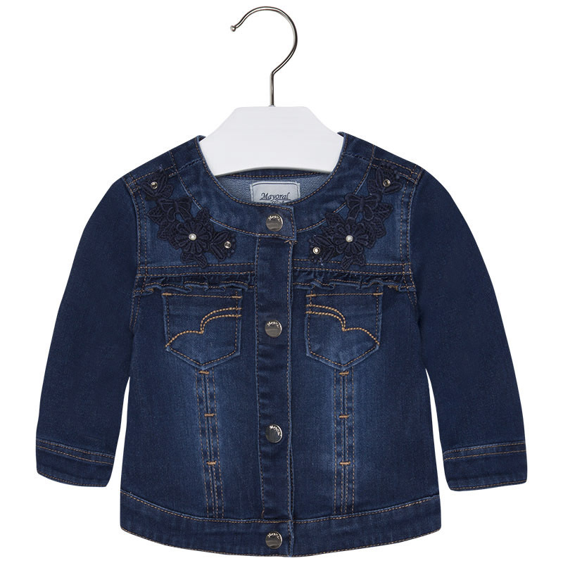 Mayoral Baby Girls Applied Floral Lace Denim Jean Jacket