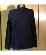 L.L. Bean Black Fleece Full-Zip Long Sleeve Jacket Zipper Pockets Petite Medium - $28.71