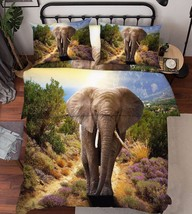3D Road Elephant Bed Pillowcases Quilt Duvet Cover Set Single Queen King... - $64.32+
